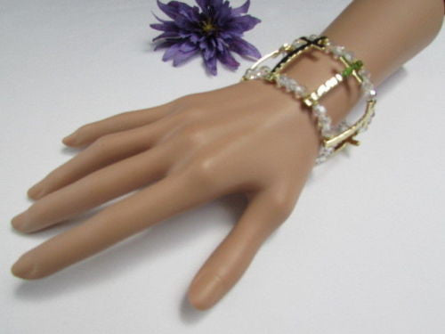 Gold Crosses Elastic Metal Cuff Bracelet Clear Beaded Trendy New Women Fashion Jewelry Accessories - alwaystyle4you - 12