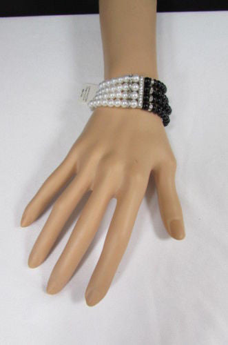 Black Cream / Pewter Black Imitation Pearl Beads Elastic Bracelet New Women Fashion Jewelry Accessories - alwaystyle4you - 26