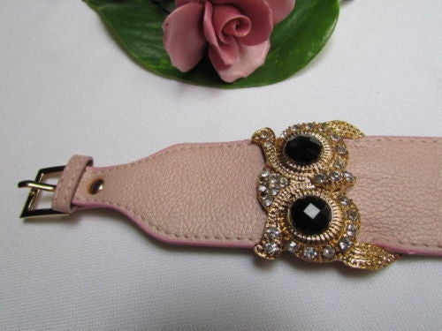 Aqua Blue / Pink / Light Pink / Black Faux Leather Strap Nude Bracelet Gold Metal Owl Head Black Rhinestone Fashion New Women Jewelry Accessories - alwaystyle4you - 13