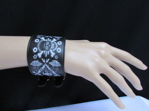 Black Faux Leather White Skull Bracelet Motorcycle Punk Rock Style  New Women Fashion Jewelry Accessories - alwaystyle4you - 3