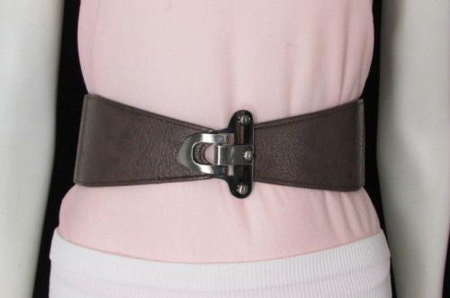 Red / Black / Gray / Dark Brown  Faux Leather Elastic Waist Hip Belt Silver Metal Hook Buckle New Women Fashion Accessories S M - alwaystyle4you - 45