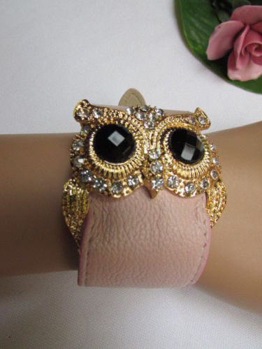 Aqua Blue / Pink / Light Pink / Black Faux Leather Strap Nude Bracelet Gold Metal Owl Head Black Rhinestone Fashion New Women Jewelry Accessories - alwaystyle4you - 14
