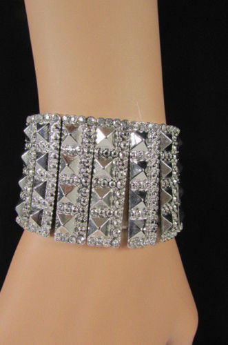 Silver Metal Elastic Bracelet Pyramid Punk Rocker Fashion New Women Jewelry Accessories - alwaystyle4you - 3