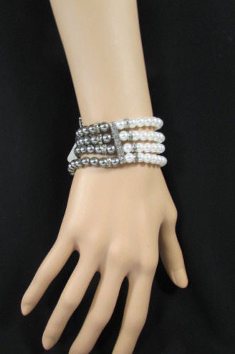 Black Cream / Pewter Black Imitation Pearl Beads Elastic Bracelet New Women Fashion Jewelry Accessories - alwaystyle4you - 34