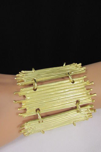 Gold Silver Metal Wide Elastic Stretch Bracelet Bamboo Plates New Women Fashion Jewelry Accessories - alwaystyle4you - 10