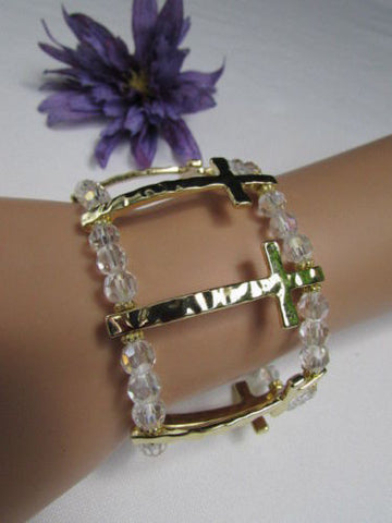 Gold Crosses Elastic Metal Cuff Bracelet Clear Beaded Trendy New Women Fashion Jewelry Accessories - alwaystyle4you - 1