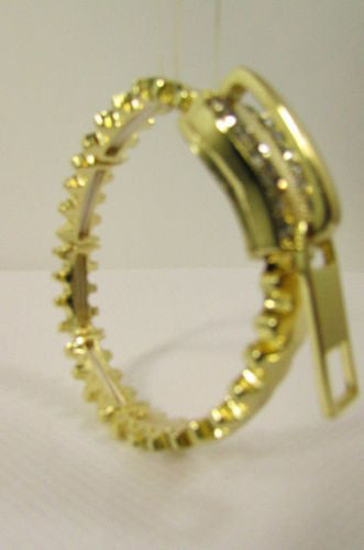 Gold Metal Thin Bracelet Big Zipper Silver Rhinestones New Women Fashion Jewelry Accessories - alwaystyle4you - 3