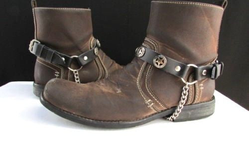 Biker Western Fashion New Unisex Western Star Boot Chain Silver Black Pair Leather Straps Bracelet - alwaystyle4you - 1