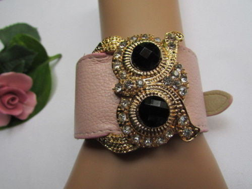 Aqua Blue / Pink / Light Pink / Black Faux Leather Strap Nude Bracelet Gold Metal Owl Head Black Rhinestone Fashion New Women Jewelry Accessories - alwaystyle4you - 6