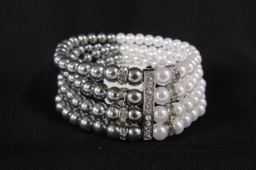 Black Cream / Pewter Black Imitation Pearl Beads Elastic Bracelet New Women Fashion Jewelry Accessories - alwaystyle4you - 13