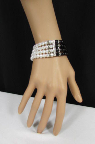 Black Cream / Pewter Black Imitation Pearl Beads Elastic Bracelet New Women Fashion Jewelry Accessories - alwaystyle4you - 5