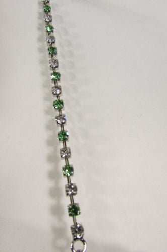 New Women Bra Straps Decorative Accessories Lingerie Rhinestones Green