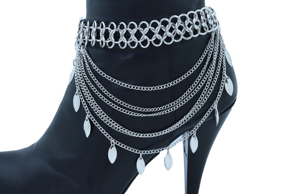 Brand New Women Silver Metal Chain Boot Bracelet Anklet Shoe Leaf Charm Fashion Jewelry