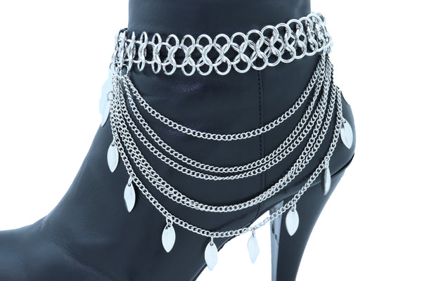 Women Silver Metal Chain Boot Bracelet Anklet Shoe Leaf Charm Fashion Jewelry One Size