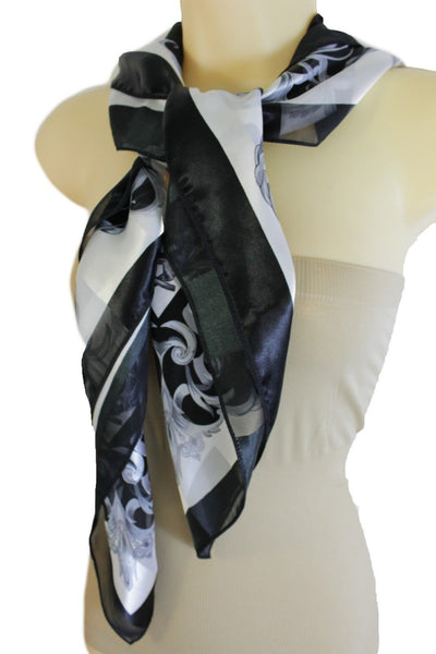 Black White Fancy Square Soft Fabric Scarf Wrap Dressy Anchor Queen Crown Women Accessories