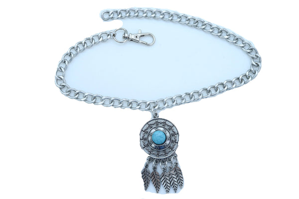 Women Silver Metal Chain Boot Bracelet Ethnic Shoe Feather Charm Turquoise Blue Color One Size