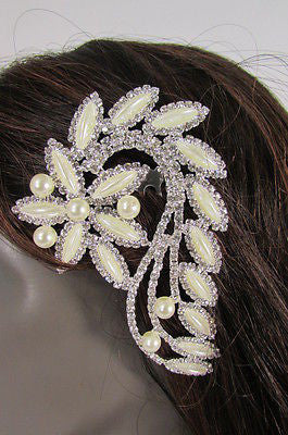New Women Silver Metal Head Jewelry Rhinestones Long Leaf 1 Side Hair Pin Flower - alwaystyle4you - 4