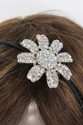 New Women Classic Fashion Headband Large Flower Silver Rhinestones Hair Band - alwaystyle4you - 5
