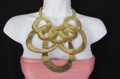 Gold Metal Thin Links Multi Strands Necklace + Earrings Set New Women Fashion - alwaystyle4you - 5