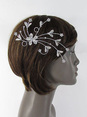 New Women Silver Metal Big Flowers Leaf Rhinestone Large Head Fashion Jewelry - alwaystyle4you - 12