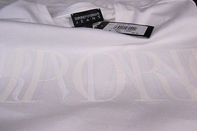 New Emporium Armani Men Signature White Fashion Authentic T-shirt Crew-neck Top Medium $195 - alwaystyle4you - 6