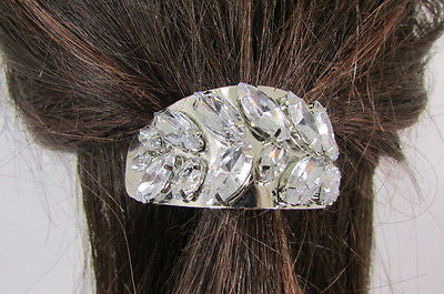 Sexy Women Silver Metal Ponytail Holder Silver Rhinestones Fashion Hair Jewelry - alwaystyle4you - 3