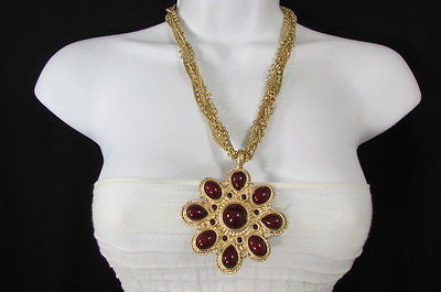 Long Gold Chains Necklace Big D. Red Flower Pendant + Earrings Set New Women Fashion - alwaystyle4you - 5