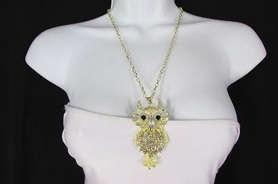"New Women 26"" Gold Metal Chains Fashion Necklace Big Owl Silver Rhinestone - alwaystyle4you - 4"