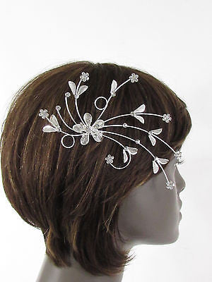 New Women Silver Metal Big Flowers Leaf Rhinestone Large Head Fashion Jewelry - alwaystyle4you - 2