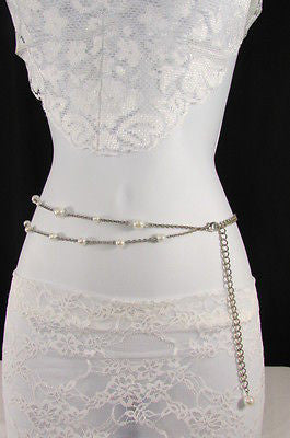 Silver Chains Hip High Waist Belt White Imitation Pearl New Women Fashion Accessories S M L XL - alwaystyle4you - 2