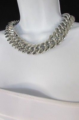 New Women Short Lightweight Chunky Silver Thick Big Chains Fashion Necklace - alwaystyle4you - 8