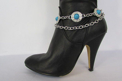 Turqoise Blue Beads Silver Metal Boot Chain Bracelet One Strap New Women Fashion Western - alwaystyle4you - 5