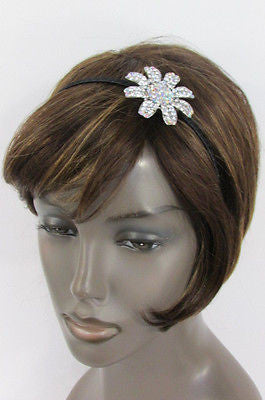 New Women Classic Fashion Headband Large Flower Silver Rhinestones Hair Band - alwaystyle4you - 4