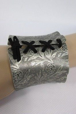 Silver Metal Bracelet Black Tie Corset Flowers Stamp New Women Fashion Jewelry Accessories - alwaystyle4you - 11