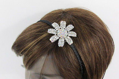 New Women Classic Fashion Headband Large Flower Silver Rhinestones Hair Band - alwaystyle4you - 2