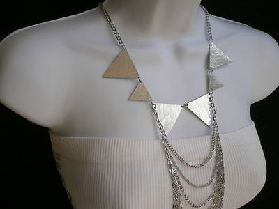 New Women Silver Body Jewerly Multi Chains Crew Neck Spikes Shape Long Necklace - alwaystyle4you - 6