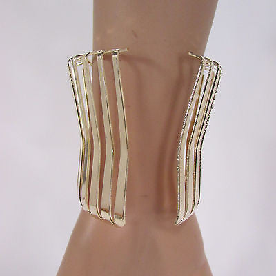 "Gold Wide Metal Cuff Bracelet Unique Cut Shape  3"" Long New Women Fashion Jewelry Accessories - alwaystyle4you - 10"