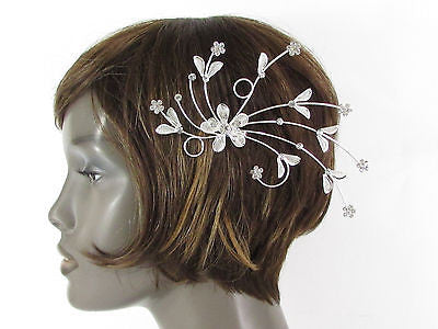 New Women Silver Metal Big Flowers Leaf Rhinestone Large Head Fashion Jewelry - alwaystyle4you - 4