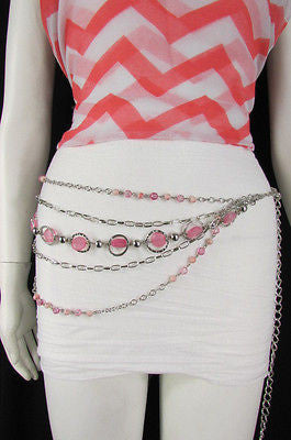 Pink Beads Silver Metal Multi Chains 5 Strands Hip Waist Belt New Women Fashion Accessories XS S M L - alwaystyle4you - 7