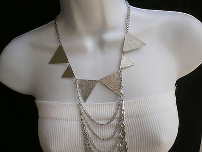 New Women Silver Body Jewerly Multi Chains Crew Neck Spikes Shape Long Necklace - alwaystyle4you - 7