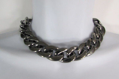 Women Fashion Pewter Gunmetal Light weight Plastic Chunky Chain Thick Necklace - alwaystyle4you - 3
