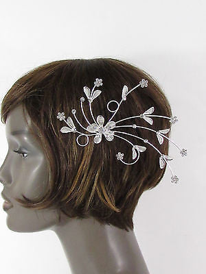 New Women Silver Metal Big Flowers Leaf Rhinestone Large Head Fashion Jewelry - alwaystyle4you - 1