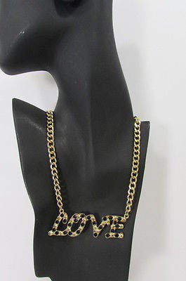 "New Women Fashion Necklace Gold Metal Chains LOVE Pendant Black Rhinestone 16"" - alwaystyle4you - 6"