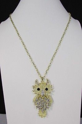 "New Women 26"" Gold Metal Chains Fashion Necklace Big Owl Silver Rhinestone - alwaystyle4you - 10"