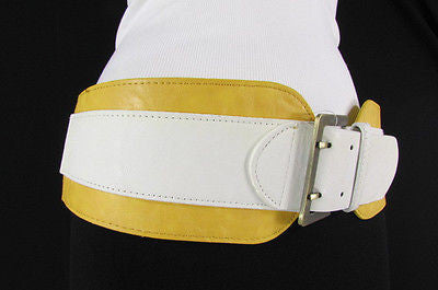 Beige Orange Black Orange White Yellow Blue Pink Faux Leather Elastic Wide 2 Colors Belt Big Buckle Western Style New Women Fashion Accessories S M - alwaystyle4you - 24
