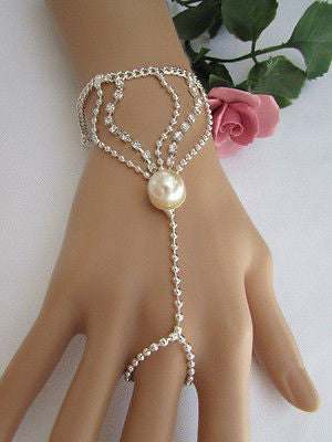 New Women Silver Thin Fashion Hand Chain Bracelet Slave To Ring Wide Net Wrist - alwaystyle4you - 10