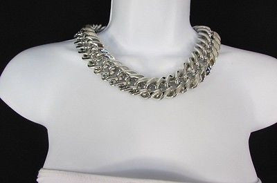 New Women Short Lightweight Chunky Silver Thick Big Chains Fashion Necklace - alwaystyle4you - 2