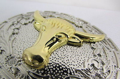 "New Belt Buckle Men Women 3.5""/2.75"" Big Gold Bull Head Silver Metal Western Fashion Belt Buckle 3D Texas long Horn Cow - alwaystyle4you - 3"