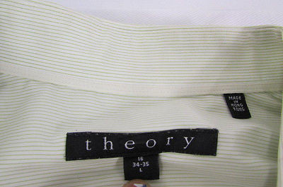 Theory Men White Button Down Dress Shirt Green Pin Stripes Classic Large 34-35 - alwaystyle4you - 7