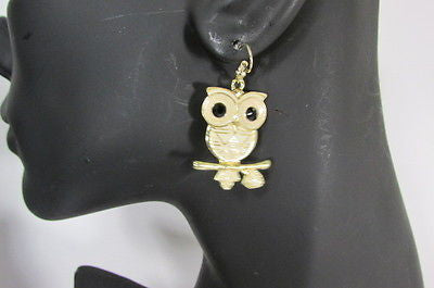 New Women Gold Metal Owl Jewelry Earrings Set Black Eyes Birds Hook Light Weight - alwaystyle4you - 4